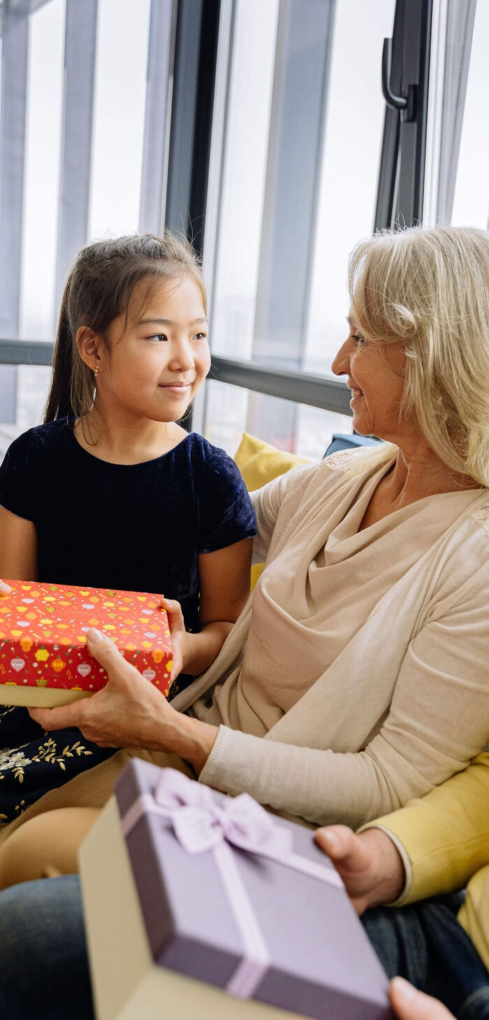 Grandmother receiving gift from grand child