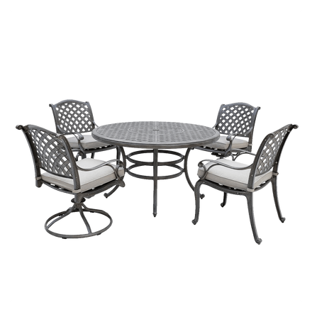 World Source Macan 5-Piece Round Dining Set in Silver