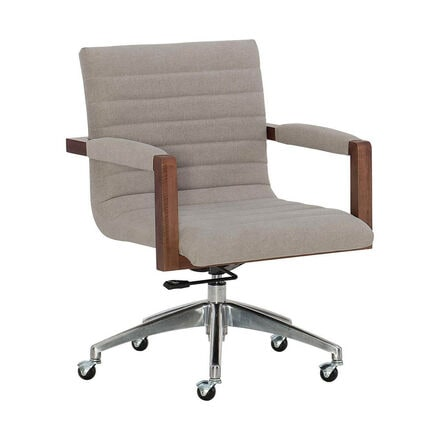 Hooker Furniture Elon Swivel Desk Chair in Beige and Medium Wood