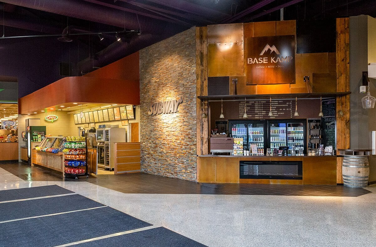 Subway sandwiches and Base Kamp coffee, beer and wine store in Electronics building at Omaha Nebraska Furniture Mart store