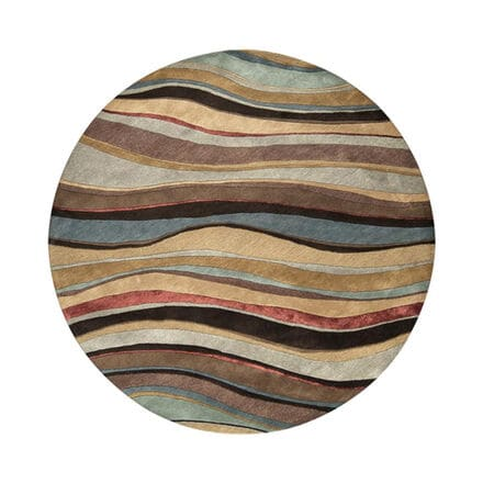 Wave patterned round area rug