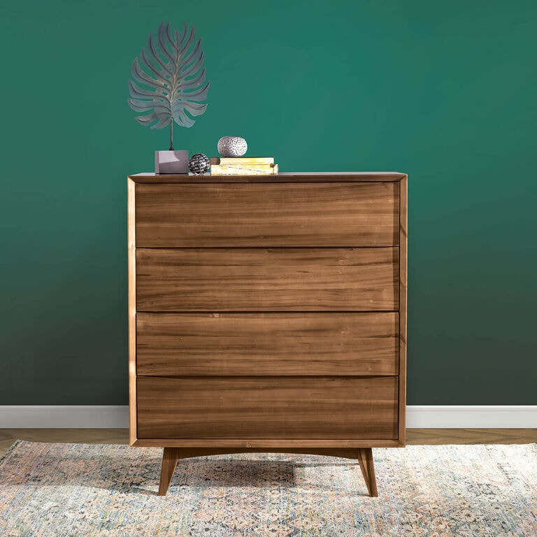 Wood dresser with decor on top