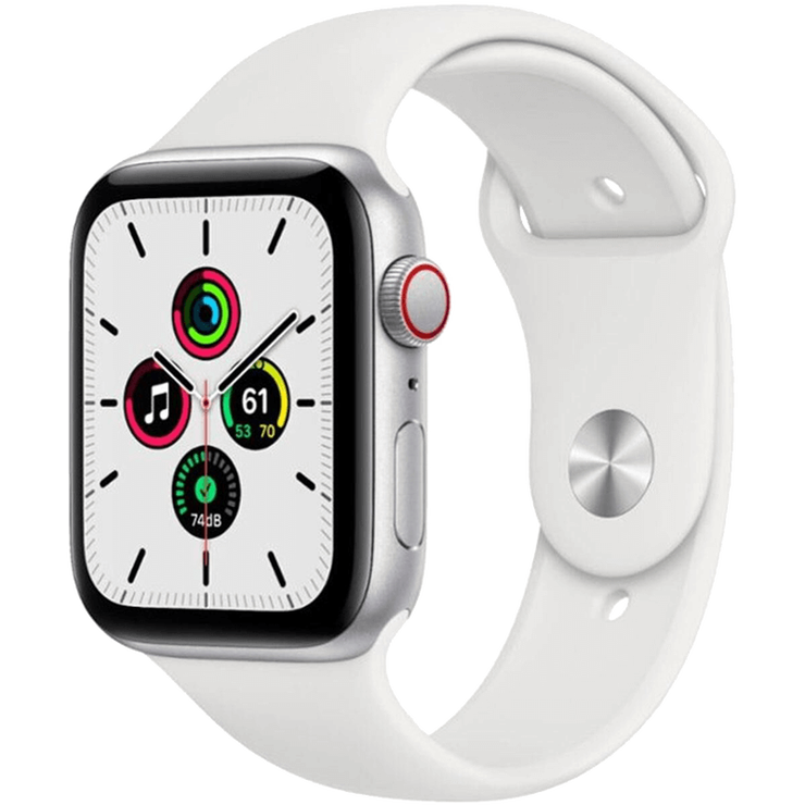 Apple Watch SE GPS + Cellular, 40mm (Latest Model) Silver Aluminum Case with White Sport Band - Regular