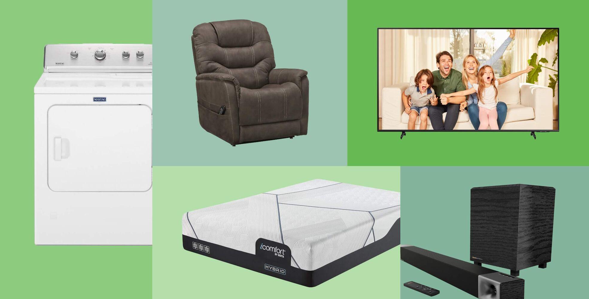Maytag Electric Dryer, Power Lift Recliner, Serta iComfort Hybrid Mattress, Samsung 4K Smart QLED HDTV, Klipsch Soundbar with Wireless Subwoofer