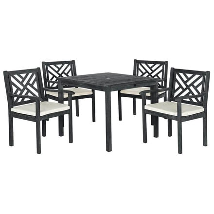 Black metal outdoor dining set