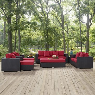 Modway Convene 9-Piece Outdoor Patio Sofa Set in Espresso and Red, , large