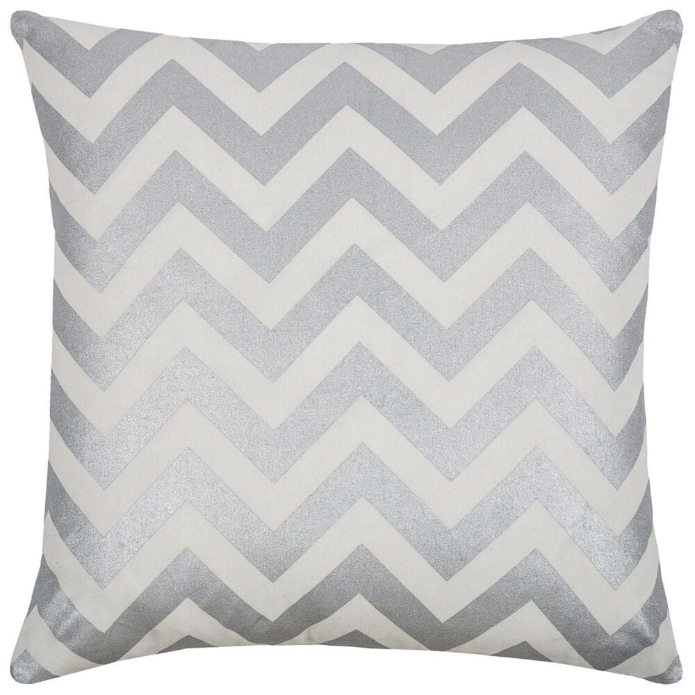 """Rizzy Home 18"""" x 18"""" Down Pillow in Gray, , large"""