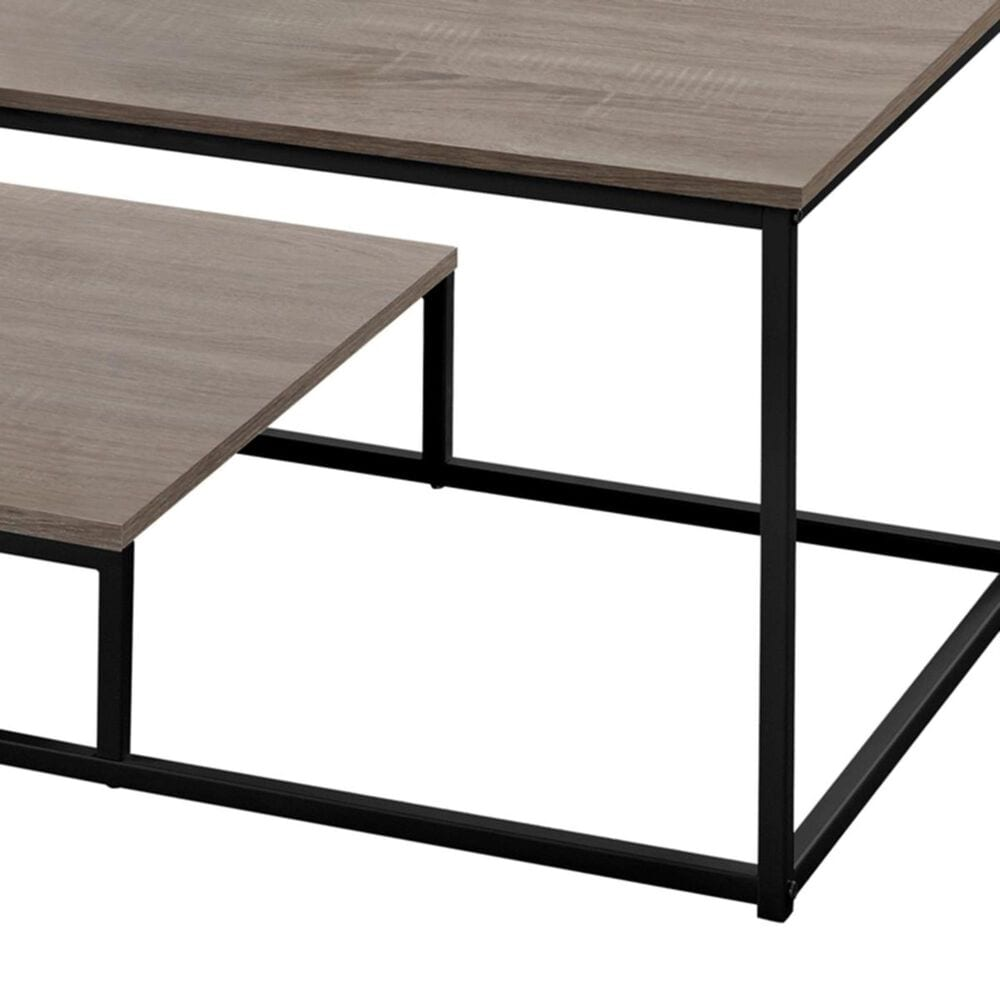 Monarch Specialties 3-Piece Occasional Table Set in Dark Taupe and Black, , large