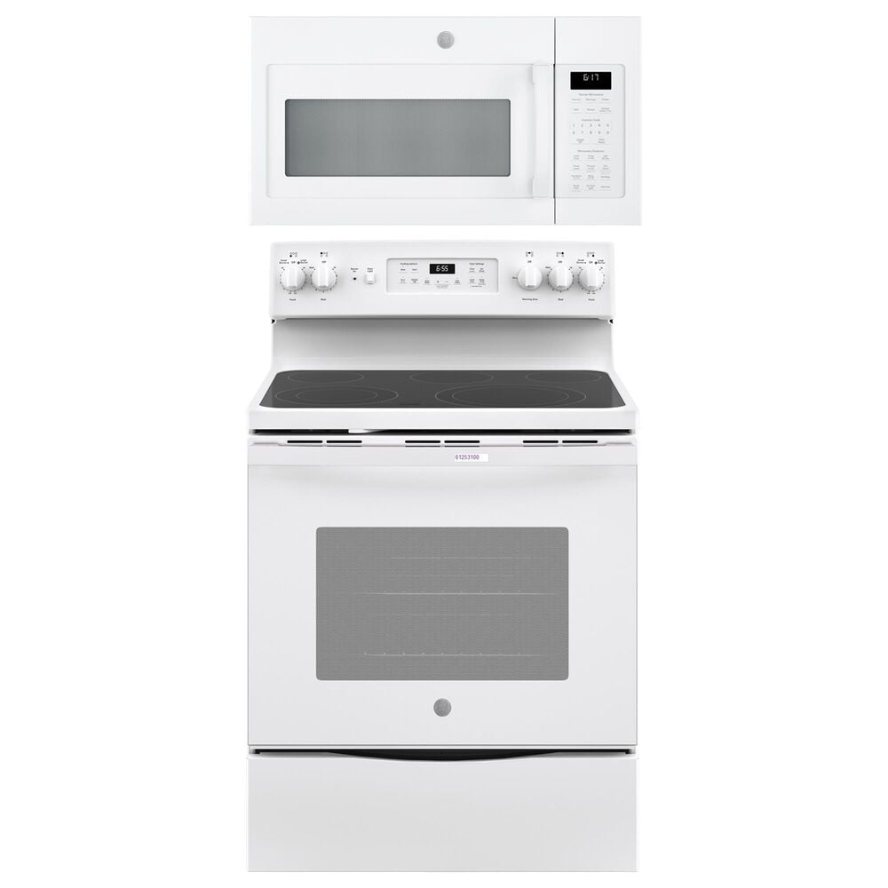 """GE Appliances 2-Piece Kitchen Package with 30"""""""" Electric Range and Sensor Microwave Oven in White, , large"""