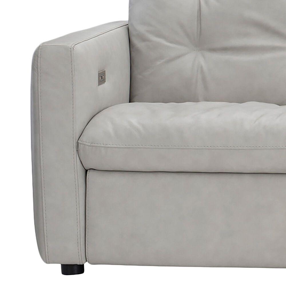 Bernhardt Kaya Power Motion Sofa in Gray White Leather, , large
