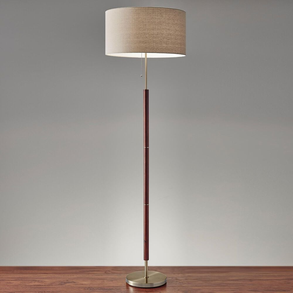 Adesso Hamilton Floor Lamp in Walnut and Antique Brass, , large