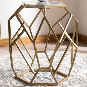 Safavieh Ava Accent Table in Agate and Gold, , large