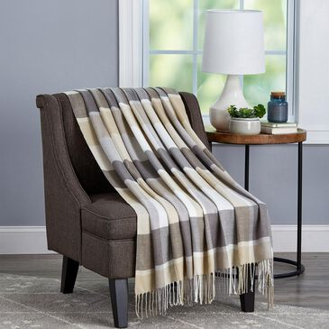 Timberlake Lavish Home Woven Faux Cashmere Feel Throw in Stone Plaid, , large
