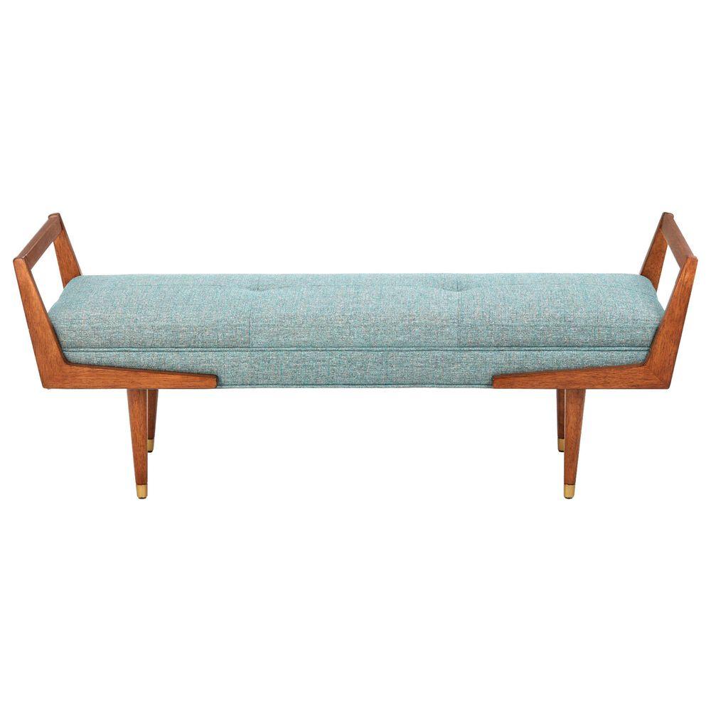 Hampton Park Boomerang Bench in Blue/Pecan, , large