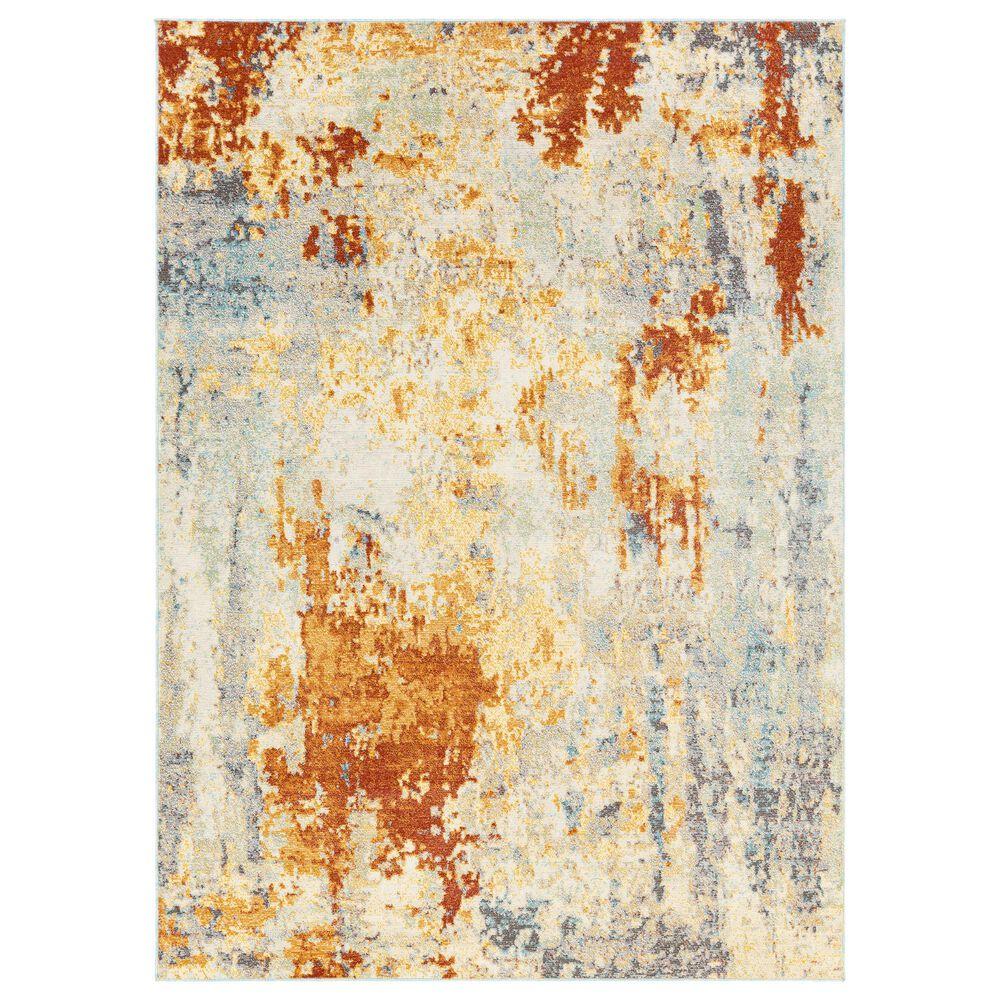 "Surya Bodrum 5""3"" x 7""3"" Ivory, Orange, Saffron, Gray and Blue Area Rug, , large"
