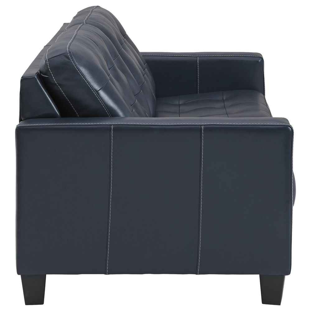 Signature Design by Ashley Leather Sofa in Blue and Cocktail Table and Ends Set, , large