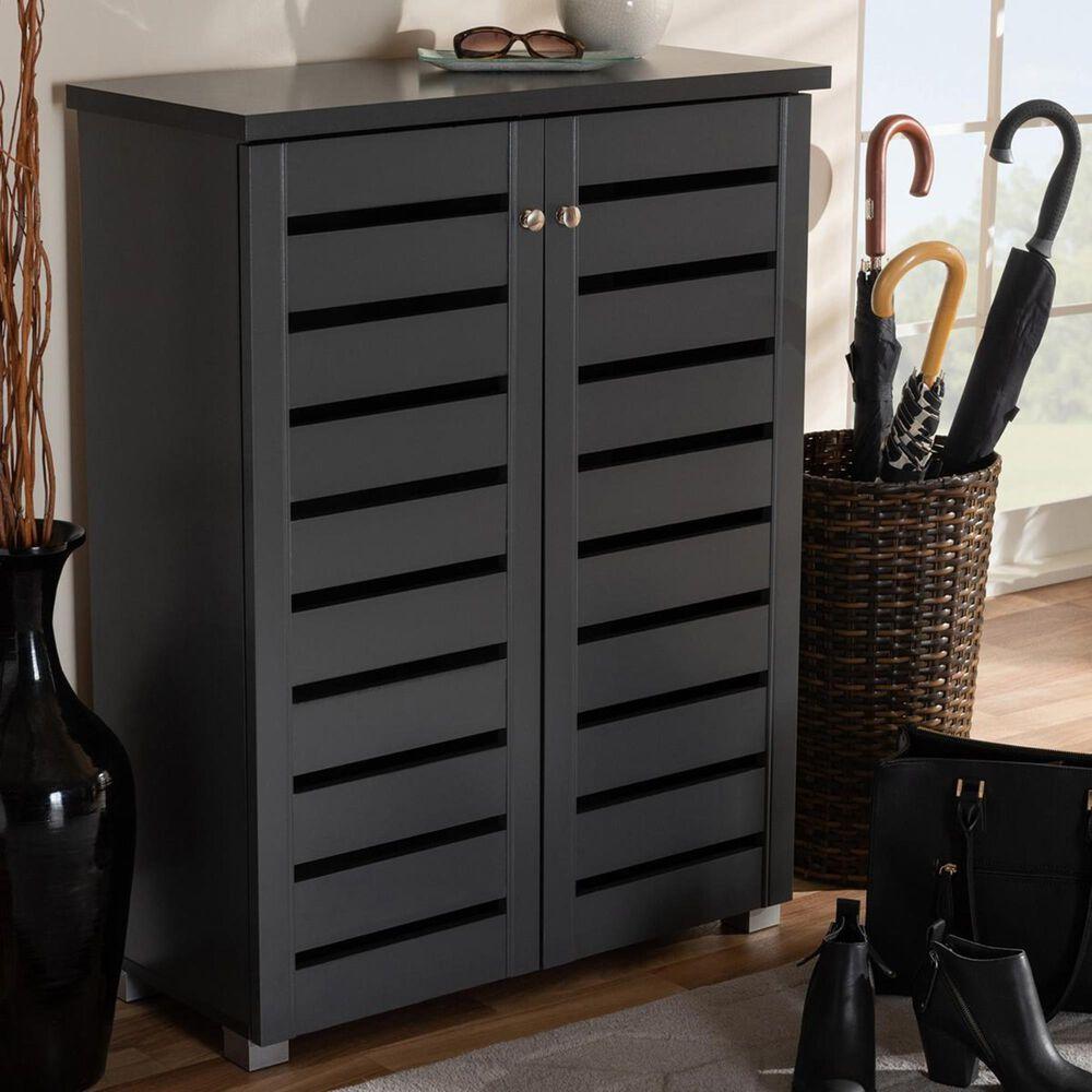 Baxton Studio Adalwin 2-Door Entryway Shoe Storage Cabinet in Dark Gray, , large