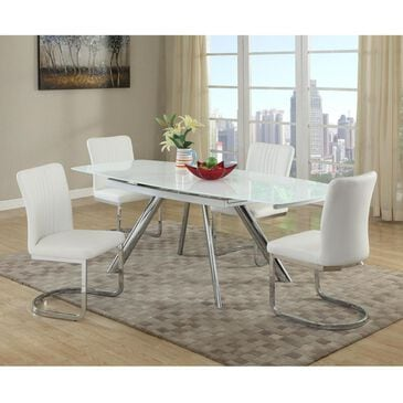 Monroe Alina 5-Piece Dining Set in Super White and Chrome, , large