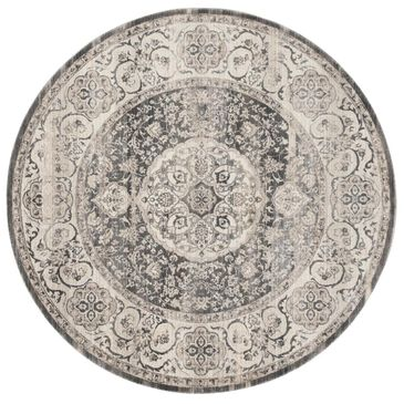 Safavieh Vintage Persian VTP457H 5' Round Dark Grey and Ivory Area Rug, , large
