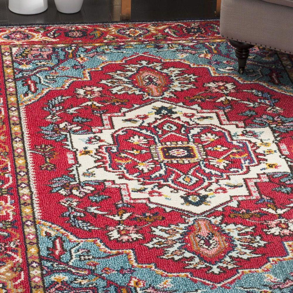 Safavieh Monaco MNC207C-3 3' x 5' Red/Turquoise Area Rug, , large