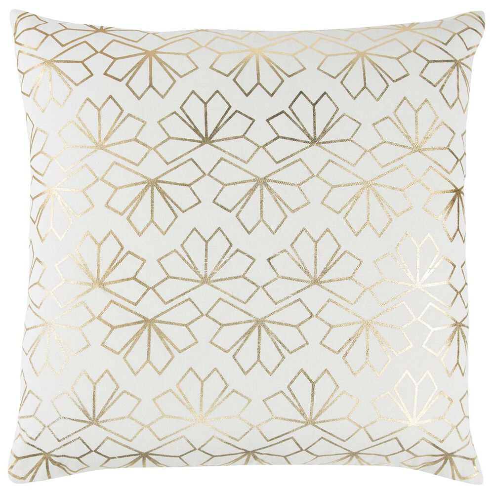 """Rizzy Home 20"""" x 20"""" Pillow Cover in Natural with Gold, , large"""