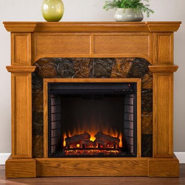 Southern Enterprises Bude Electric Convertible Fireplace in Mission Oak/Earth Toned Tiles, , large
