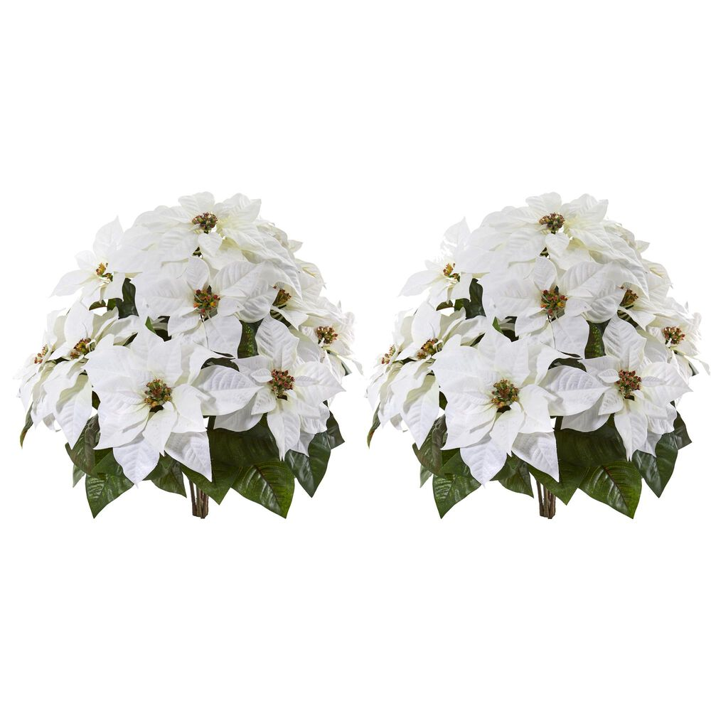 """Nearly Natural Inc 24"""" White Poinsettia Artificial Plant (Set of 2), , large"""