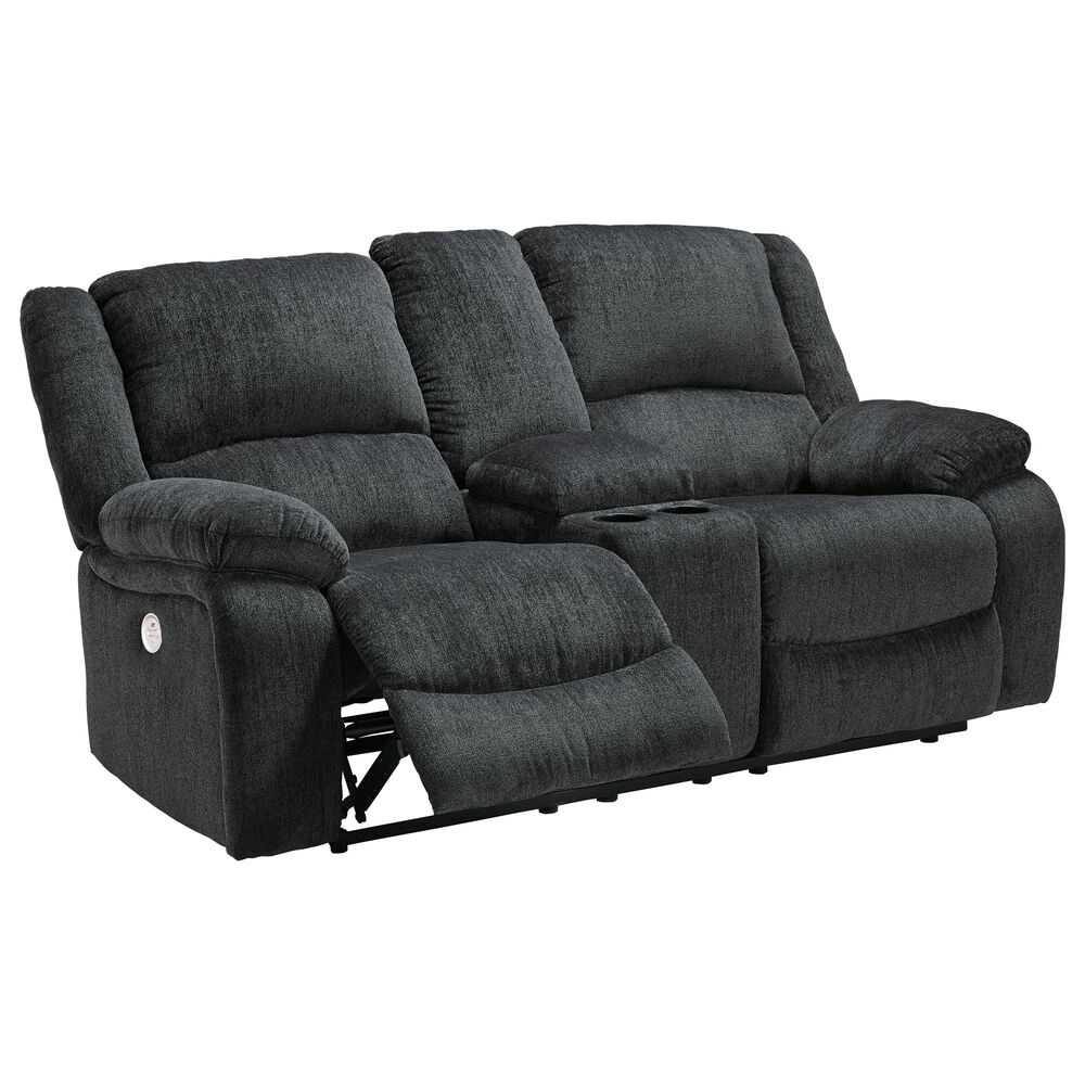 Signature Design by Ashley Draycoll Power Reclining Loveseat with Console in Slate, , large