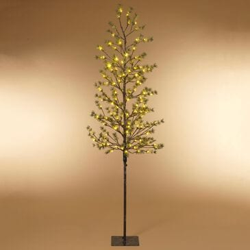 """The Gerson Company 82.67"""" Icy Pine Tree with 140 LED White Lights in Green, , large"""