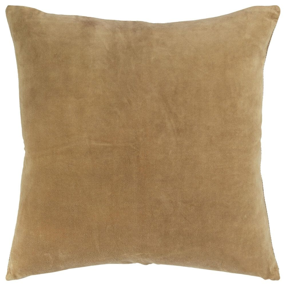 """Rizzy Home Transitional Solid 22"""" Poly Filled Pillow in Gold, , large"""