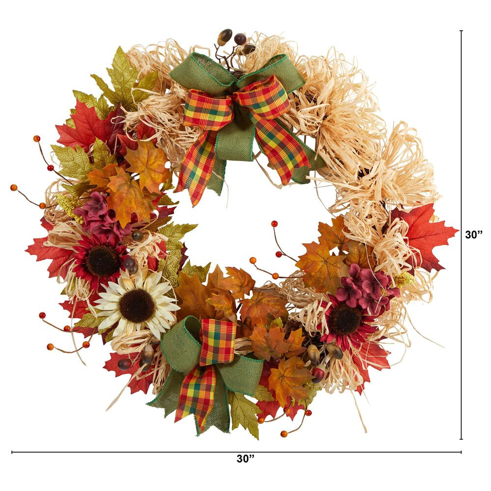 Nearly Natural Inc 30in. Harvest Autumn Sunflower, Maple Leaves and Berries Artificial Fall Wreath with Decorative Bows, , large