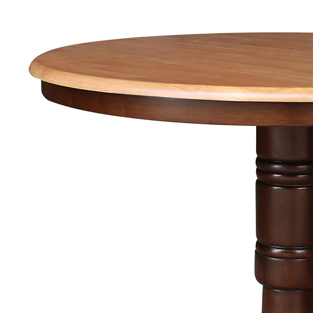 """International Concepts 36"""" Modern Farmhouse Round Dining Table in Cinnamon/Espresso, , large"""
