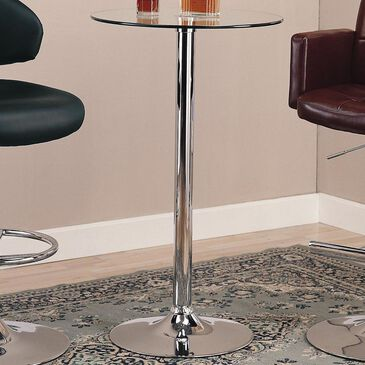 Pacific Landing Bar Table with Glass Top in Polished Chrome, , large