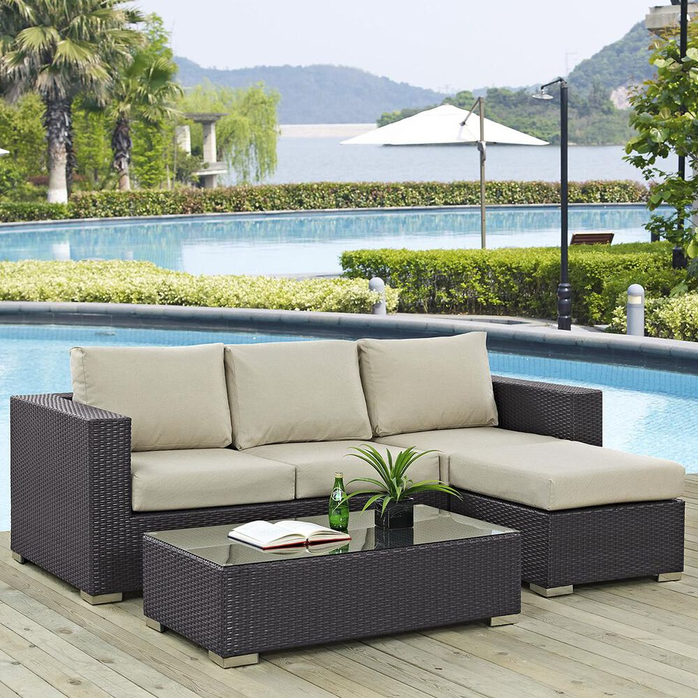 Modway Convene 3-Piece Outdoor Patio Sectional Set in Espresso and Beige, , large