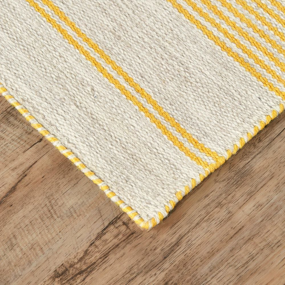 Feizy Rugs Duprine 4' x 6' Yellow and Ivory Area Rug, , large