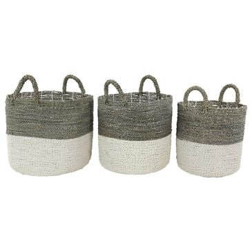 Maple and Jade Contemporary Seagrass Storage Basket in Multi Color Set of 3, , large
