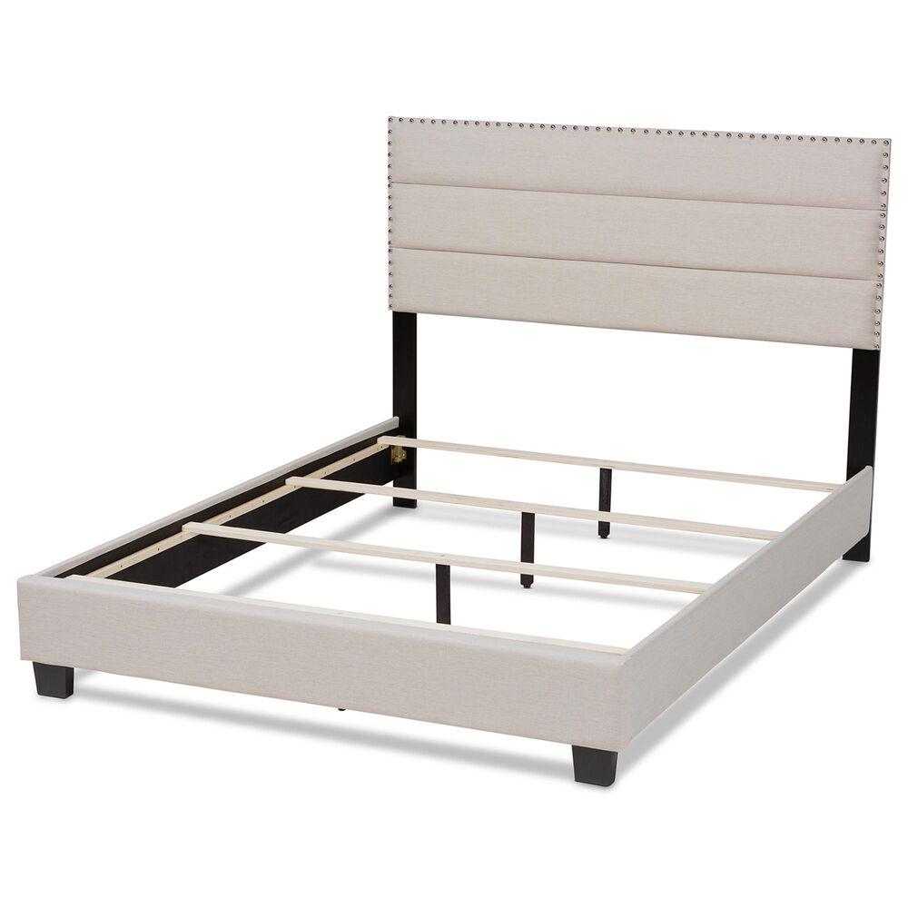 Baxton Studio Ansa King Upholstered Bed in Beige/Black, , large