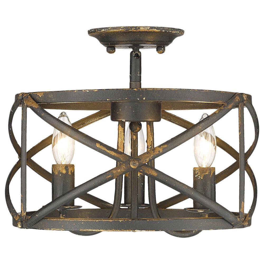 Golden Lighting Alcott Semi-Flush in Antique Black Iron, , large