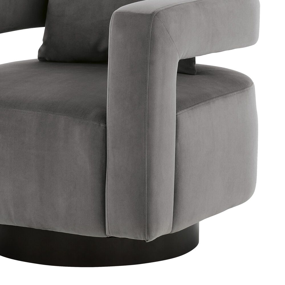 Signature Design by Ashley Alcoma Swivel Accent Chair in Otter Velvet, , large