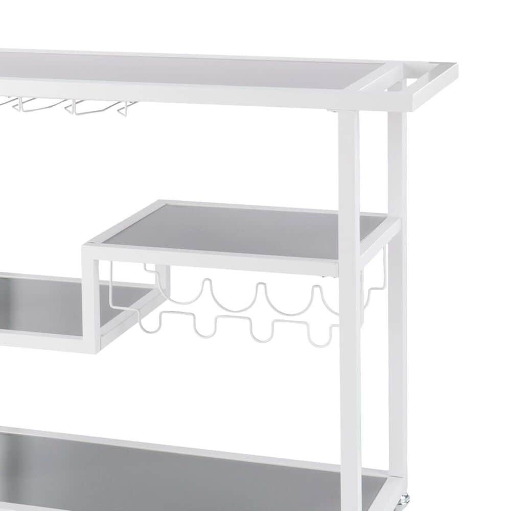 Southern Enterprises Zephs Bar Cart in White and Smoky Gray, , large