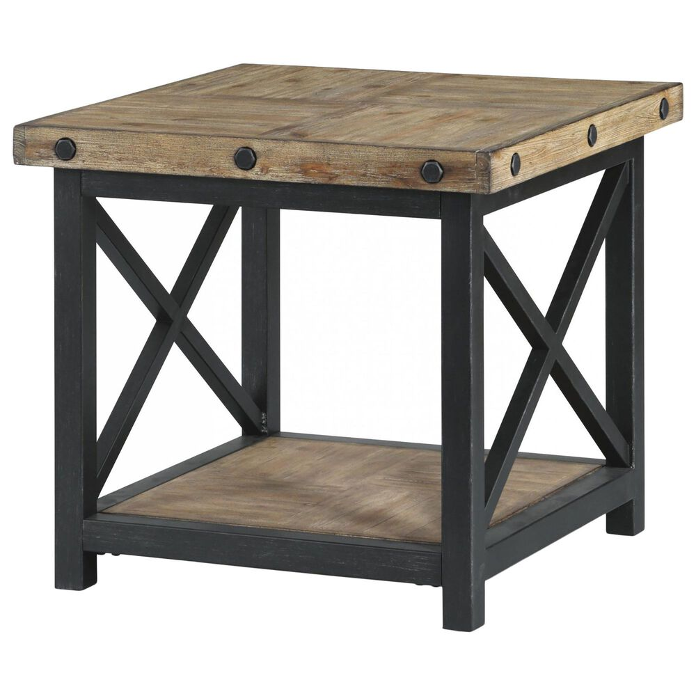 Flexsteel Carpenter Lamp Table in Rustic Light Brown, , large