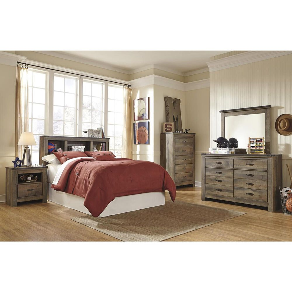 Signature Design by Ashley Trinell Full Bookcase Headboard in Brown, , large