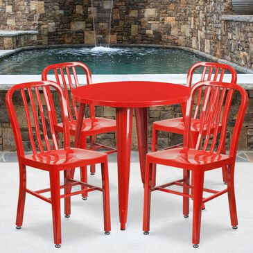 Flash Furniture 5-Piece Round Table Set in Red, , large