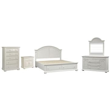 Belle Furnishings Summer House I 5 Piece Queen Storage Bed Set in Oyster White, , large