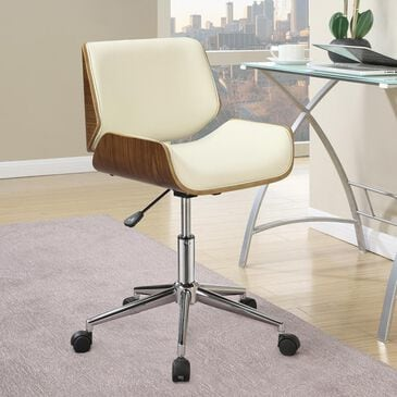 Pacific Landing Leatherette Chair with Ecru Cushion in Chrome, , large