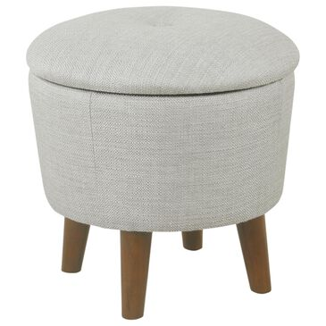 Kinfine Round Storage Ottoman in Gray with Walnut Finished Legs, , large