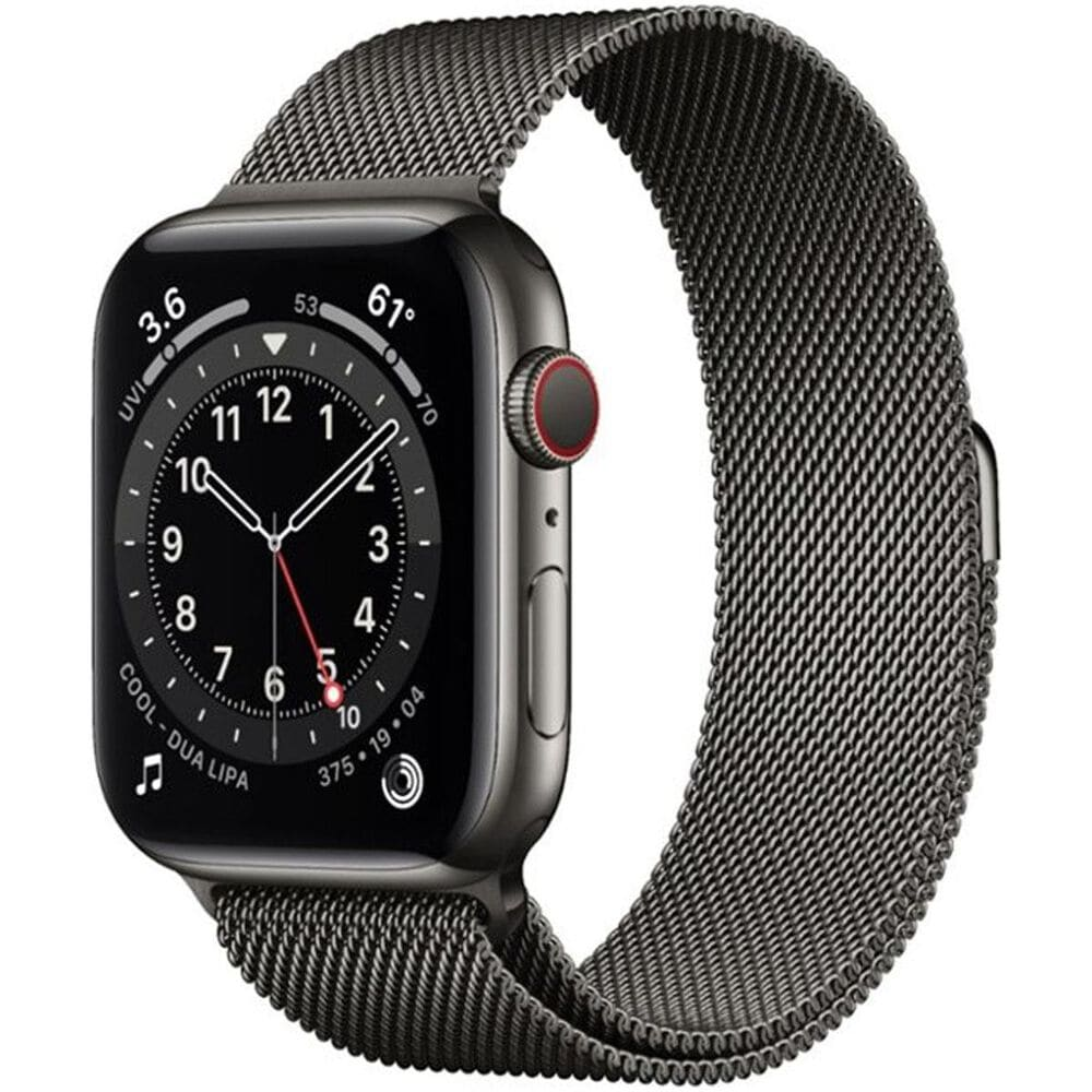 Apple Watch Series 6 GPS + Cellular, 40mm (Latest Model) Graphite Stainless Steel Case with Graphite Milanese Loop, , large