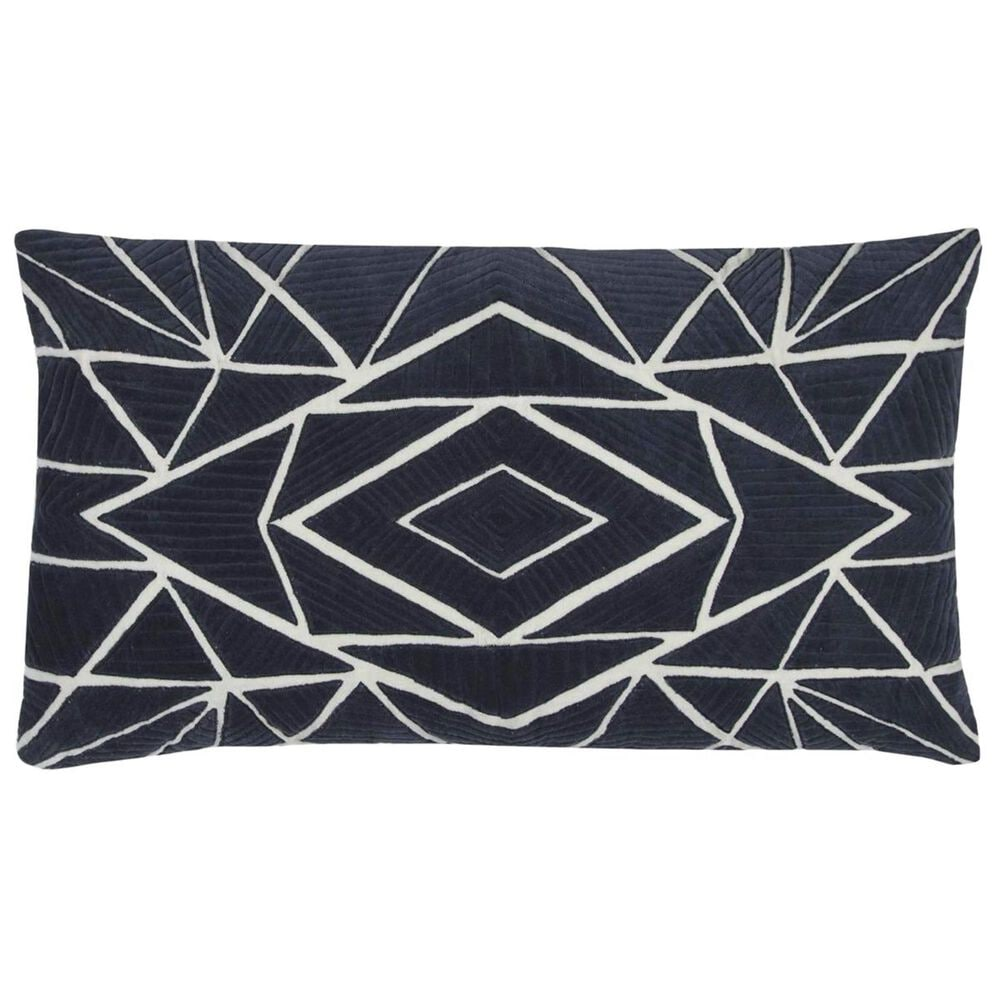 """Rizzy Home 14"""" x 26"""" Pillow Cover in Dark Blue, , large"""