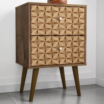 Dayton Liberty 2 Drawer Nightstand in Rustic Brown and 3D Brown Prints, , large