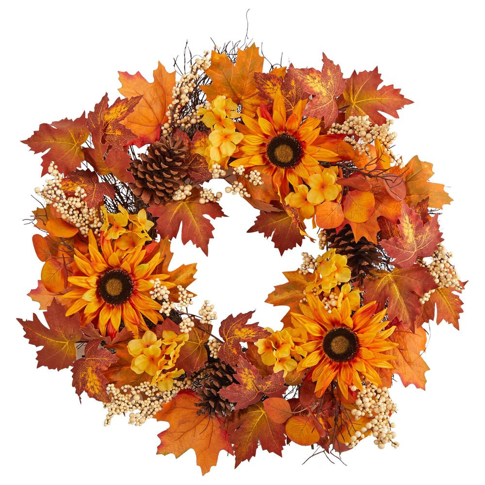 Nearly Natural Inc 28in. Autumn Maple Leaves, Sunflower, White Berries and Pinecones Artificial Fall Wreath, , large